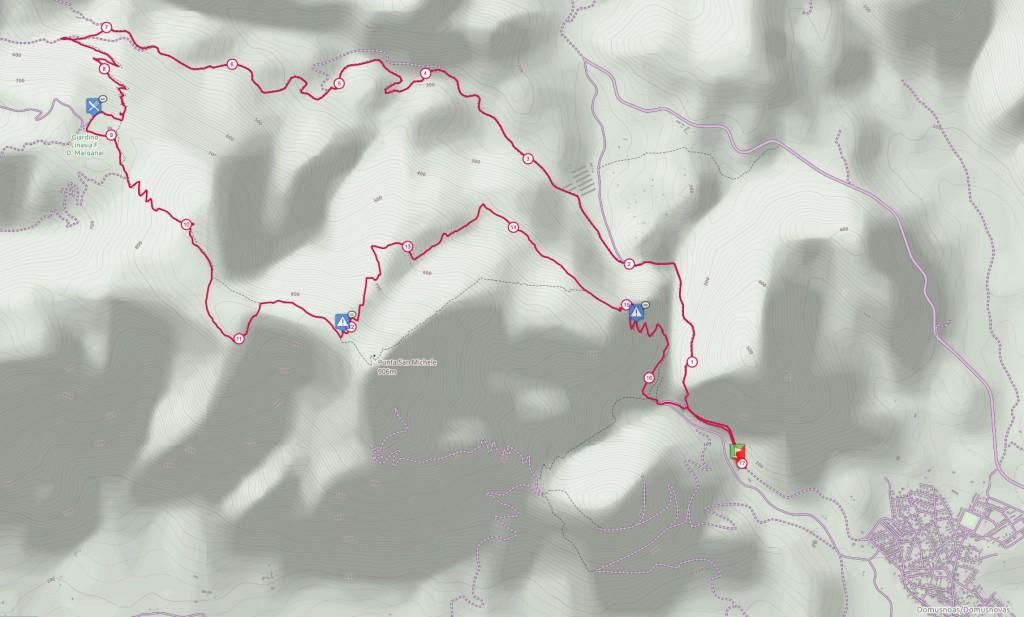 Mappa Tral del Marganai 17 Km (un clic per ingrandire l'immagine)